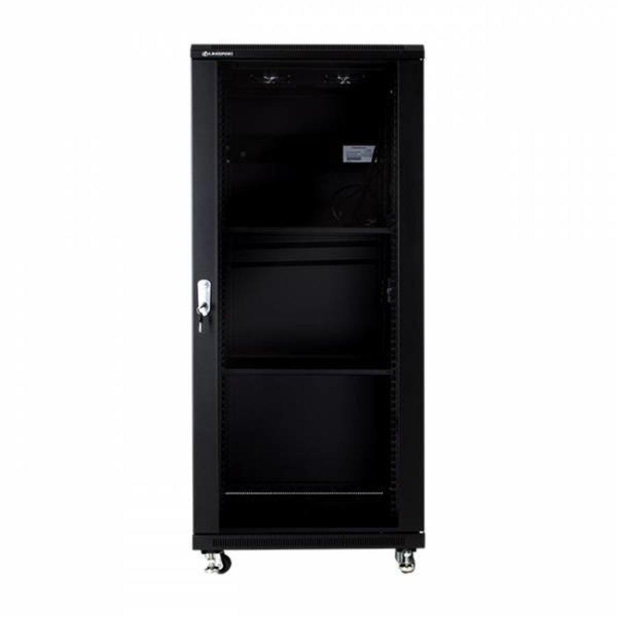 27U serverkast met glazen deur 600x1000x1388mm (BxDxH)
