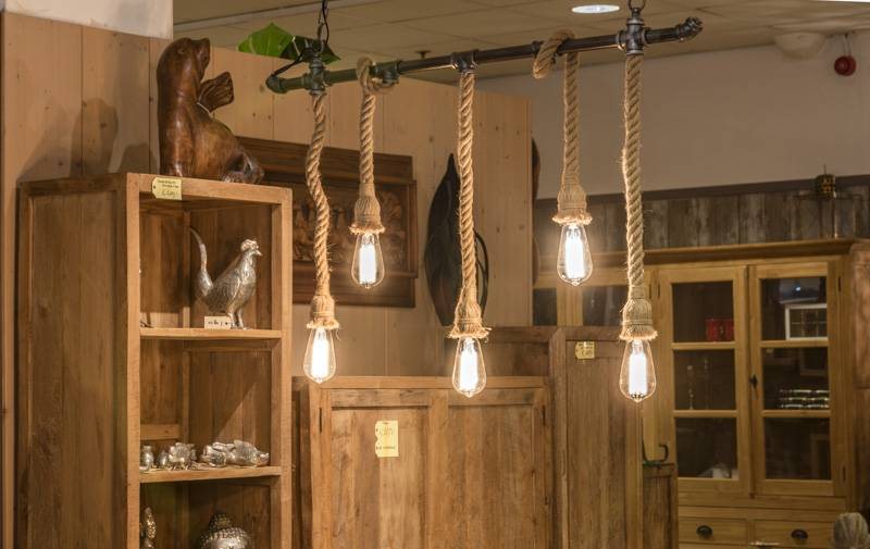 Bekend industriële lamp met touw | Dessa meubelen, de teak speciaalzaak! #GU08