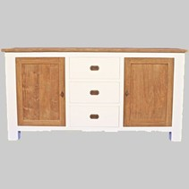 Dressoir white wash met teak J08