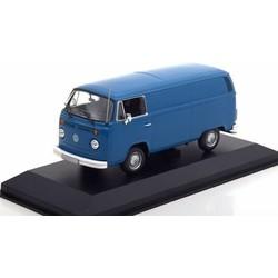 Volkswagen VW T2b Van Bouwjaar 1972 blauw 1:43 # Maxichamps