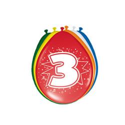 Ballonnen 3 jaar - 8 stuks