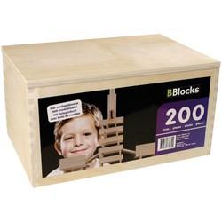 200 stuks houten bouwplankjes kist