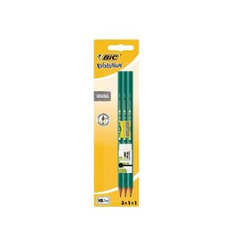 Bic Bic potlood Evolution 650, 3st + gum + slijper, op blister