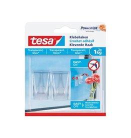Tesa Tesa Klevende haak voor transp en Glas draagvermogen 1kg 2st