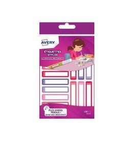 Avery Avery Family mini naametik., 5x1cm, roze/paars, 30 etik.
