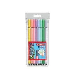 Stabilo Stabilo viltstift Pen 68, etui 8st in assorti pastel kleuren