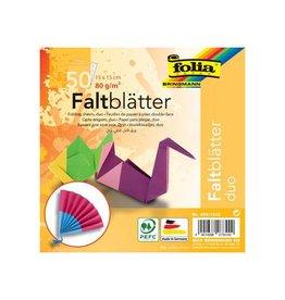 Folia Folia vouwpapier Duo ft 15 x 15 cm, pak met 50 vel