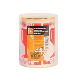 Cleverpack Cleverpack etiketten breekbaar, pak van 250 stuks