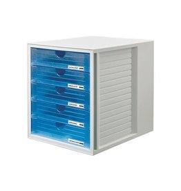Han Han ladenblok Systembox 5 gesloten laden, transparant blauw
