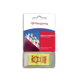 "Pergamy Pergamy 'Pop up vlag' pijl ""sign here"", ft 45 x 25mm, 50 vel"