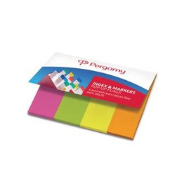 Pergamy Pergamy Index & papieren markeerstroken 4x50vel neon kleuren
