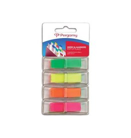 Pergamy Pergamy index 45x12mm, 4 assorti neonkleuren, met dispenser