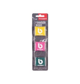Bruynzeel Bruynzeel kneedgum, blister met 3st in geassorteerde kleuren