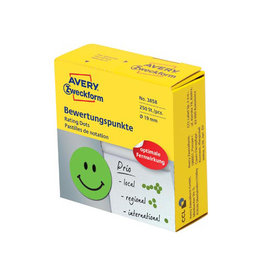 Avery Zweckform Avery rating dots, 19mm, rol met 250st. smiley groen