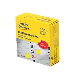 Avery Zweckform Avery marking dots, diameter 19 mm, rol met 250 stuks, geel