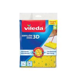 Vileda Vileda dweil 3D structuur, geel, pak met 2 stuks