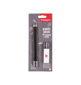 Bruynzeel Bruynzeel potlood HB, blister van 2 stuks met slijper en gom