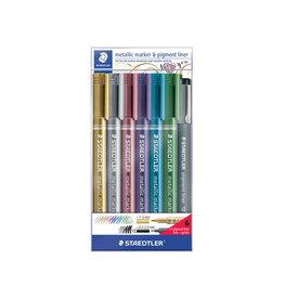 Staedtler Staedtler Metallic marker etui 6st+Pigment Liner zw.