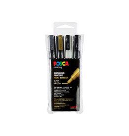 Posca Posca paintmarker PC-3M, set van 4 markers in assorti