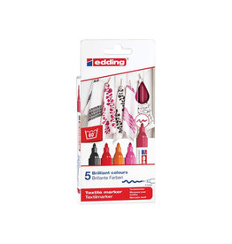 Edding Edding textielstift 4500, set 5st in assorti warme kleuren