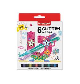 Bruynzeel Kids Bruynzeel Kids  viltstiften Glitter, set van 6st in assorti