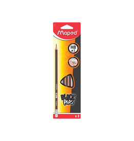 Maped Maped potlood Black'Peps HB, 3st op blister, met gum