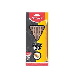 Maped Maped Black'Peps potlood met gum HB, blister met 10 stuks