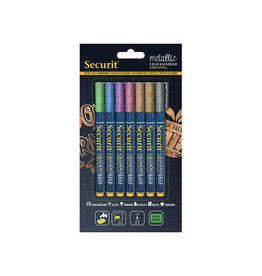Securit Securit krijtmarker fijn 7st in assorti metallic kleuren