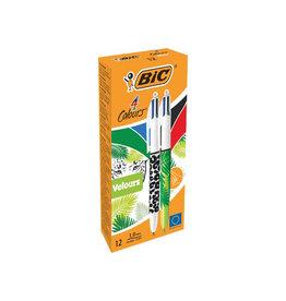 Bic Bic balpen 4 Colors Velours medium doos 12st. in geas. kl.