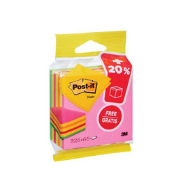 Post-it Post-it Notes kubus 76mmx76mm, Neon, blok 325+65 vel gratis