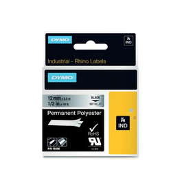 Dymo Dymo RHINO tape permanent polyester 12 mm, zwart op metaal