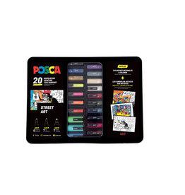 Posca Posca paintmarkers, metalen 20 st. in geassorteerde kleuren