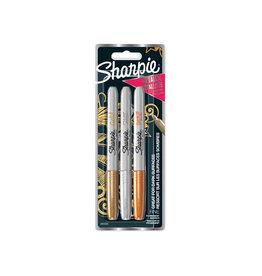Sharpie Sharpie permanente marker metallic, blister van 3 stuks
