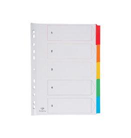 Pergamy Pergamy tabbladen indexblad, A4 geassorteerde kleuren 5 tabs
