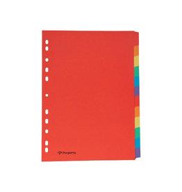 Pergamy Pergamy tabbladen, A4, karton 12 tabs, geassorteerde kleuren
