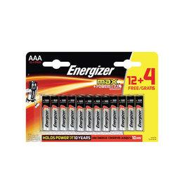 Energizer Energizer batterijen Max AAA, blister van 12 + 4 gratis
