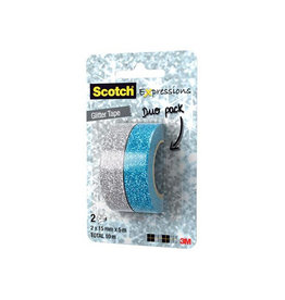Scotch Scotch Expressions glitter tape, 15mmx5 m, 2st in assorti