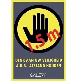 Gallery Gallery sticker, waarschuwing; houd 1,5 meter afstand,A5