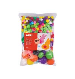Apli Apli pompons, zakje met 500 stuks in geassorteerde kleuren