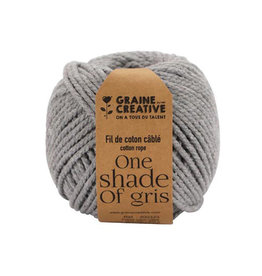 Graine Creative Graine Créative Macramé touw, ft 2,5 mm x 80 m, lichtgrijs