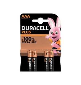 Duracell Duracell batterij Plus 100% AAA, blister van 4 stuks