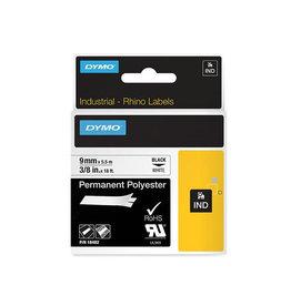 Dymo Dymo RHINO permanente polyester tape 9 mm zwart op wit [5st]