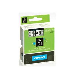 Dymo Dymo D1 tape 24 mm, transparant op zwart