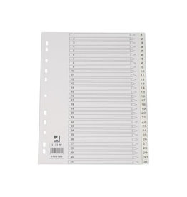 Q-CONNECT Q-Connect tabbladen set 1-31, met indexblad, ft A4, wit