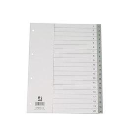 Q-CONNECT Q-Connect tabbladen set 1-20, met indexblad, ft A4, grijs