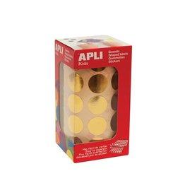 Apli Kids Apli Kids stickers op rol cirkel 20mm, 1770st, metallic goud