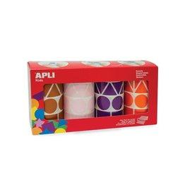 Apli Kids Apli Kids stickersxL,doos met 4 rol in 4 kleuren en 4 vormen