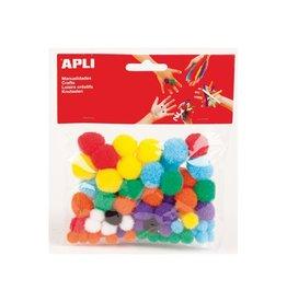 Apli Kids Apli pompons, blister met 78 stuks in geassorteerde kleuren
