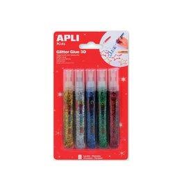 Apli Kids Apli Kids glitterlijm 5 tubes van 13 ml in div. metallic kl.