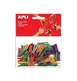 Apli Kids Apli houten gekleurde mini wasknijpers, 45st in div. kl.